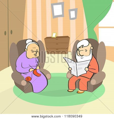 Old Couple Sitting In Armchair, Senior Lady Knitting, Man Reading