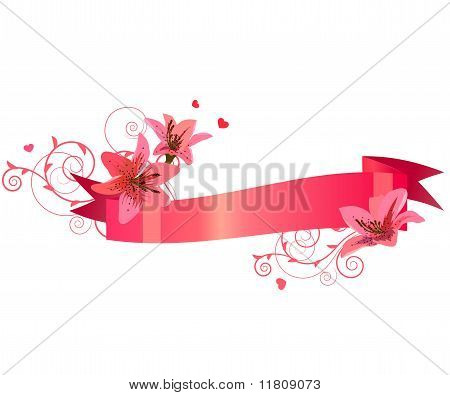 Floral banner with lilies