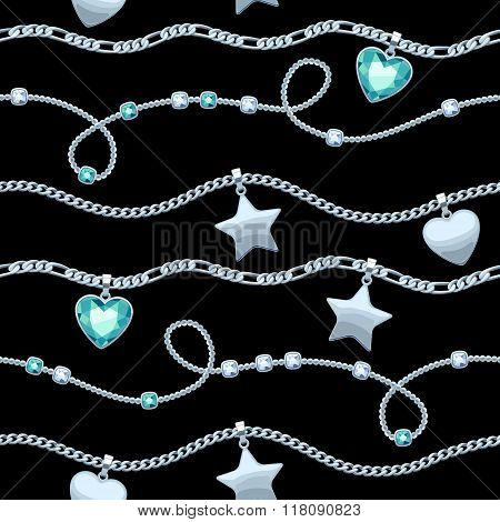 Silver chains white and green gemstones pattern.