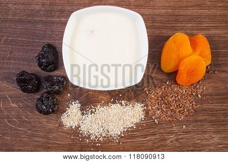 Dried Fruits, Oat Bran, Linseed And Yoghurt In Bowl, Increase Metabolism