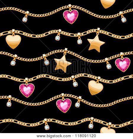 Golden chains white and pink gemstones pattern.