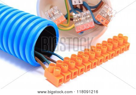 Corrugated Pipe, Cable With Connection Block, Electrical Box