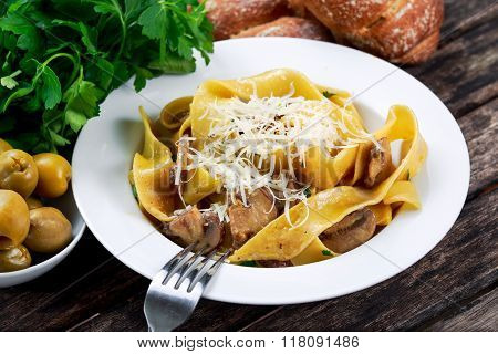 Pappardelle Pasta with mushrooms, cheese and other herbs