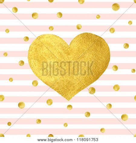 Heart Love Gold Watercolor Texture Paint Stain. Vector greeting card