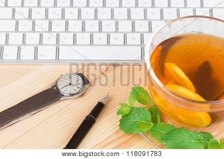 Lemon Tea With Computer Keyboard