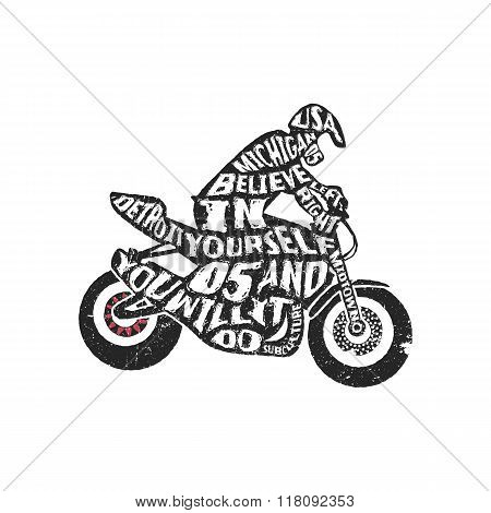Typography lettering motorcyclist
