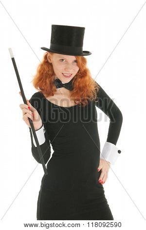 Woman as dandy with black hat and stick isolated over white background