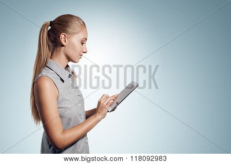 Tablet Computer. Business Woman Using Digital Tablet Computer Pc Happy Isolated On White Background.
