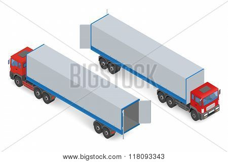 Isometric red truck without a trailer
