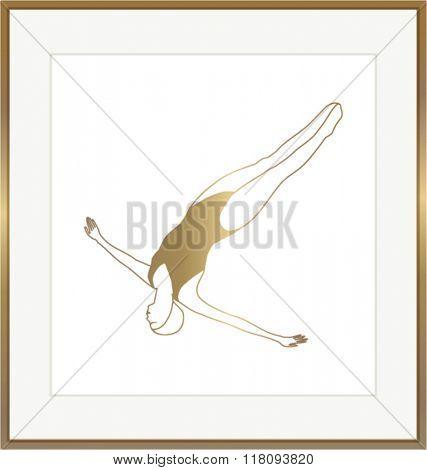 GOLD WALL ART. Swimmer.