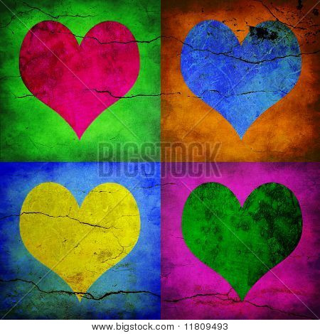 Four hearts with different colors