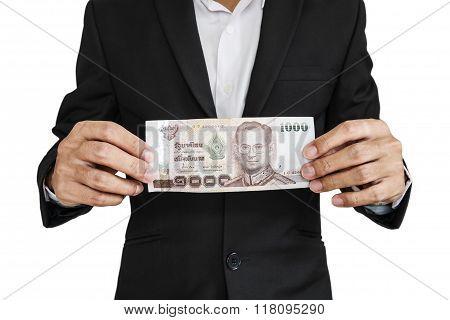 Businessman showing cash, isolated on white background