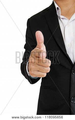 Businessman in black suit pointing hand gun sign to screen, selective focus, isolated on white backg