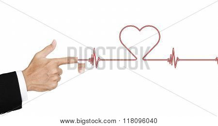 Hand opened finger and shot laser as a heart rate, isolated on white background, abstract concept