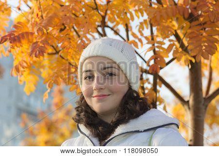 Girl In Autumn Day