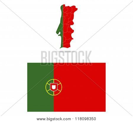 Portugal map with regions illustrated and colored