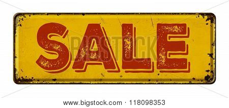 Vintage Rusty Metal Sign On A White Background - Sale