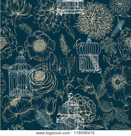 seamless pattern of various vintage keys and cages