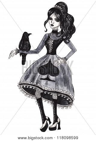 Gothic girl with a crow. Watercolor illustration on white isolated background