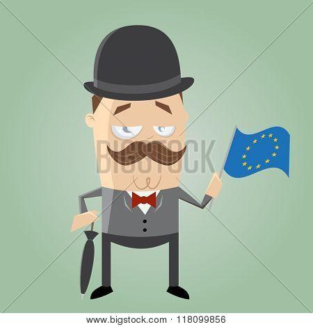 british man with european flag