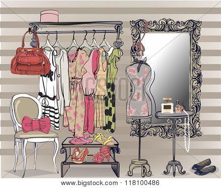 interior illustration with women wardrobe