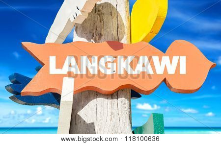 Langkawi welcome sign with beach
