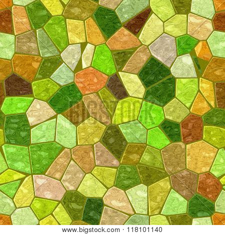 Green Brown Yellow Orange Marble Irregular Plastic Stony Mosaic Seamless Pattern Texture Background