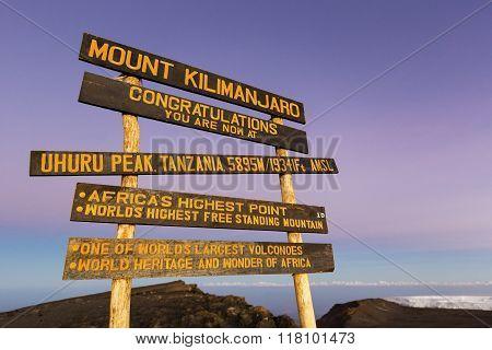 Uhuru Peak on Kilimanjaro.