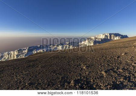 Glaciers on top of Mount Kilimanjaro