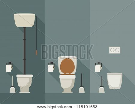 Toilet flat illustration.
