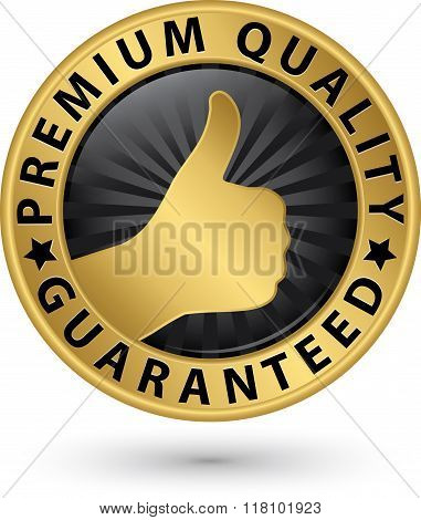 Premium Quality Guaranteed Golden Label, Vector Illustration