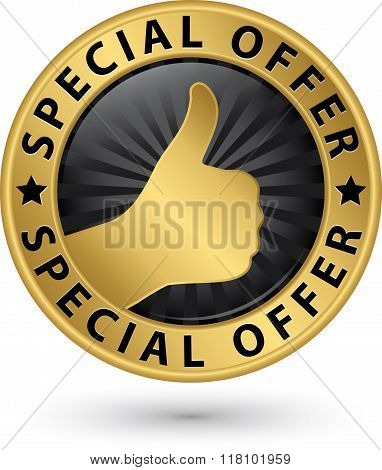 Special Offer Golden Sign With Thumb Up, Vector Illustration
