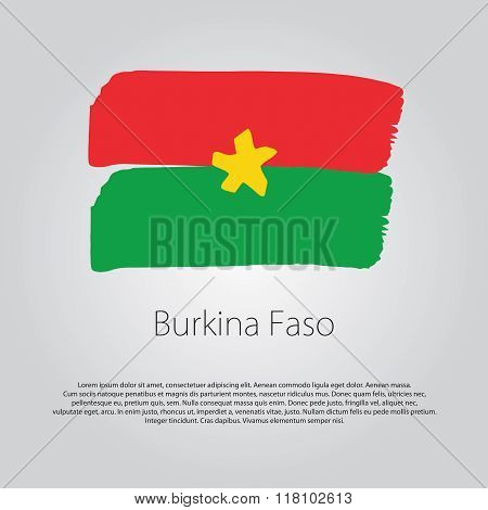 Burkina Faso Flag With Colored Hand Drawn Lines In Vector Format