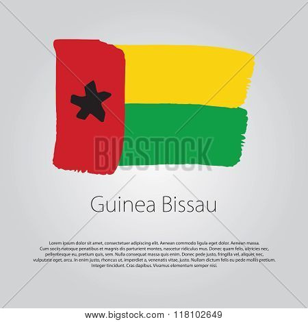 Guinea Bissau Flag With Colored Hand Drawn Lines In Vector Format