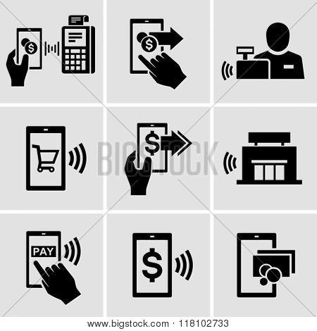 Mobile payment vector icons