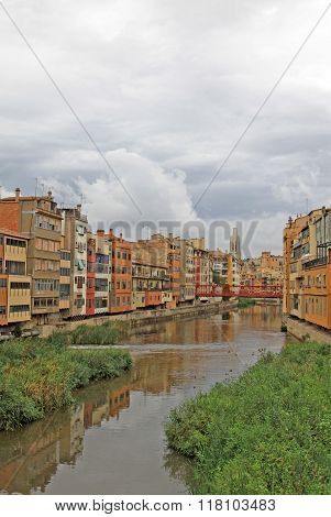 Girona, Spain - August 30, 2012: View Of The Old Town With Colorful Houses On The Bank Of The River