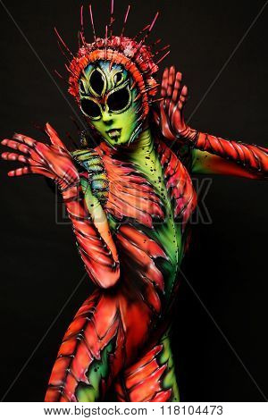Woman wearing freak costume and mask