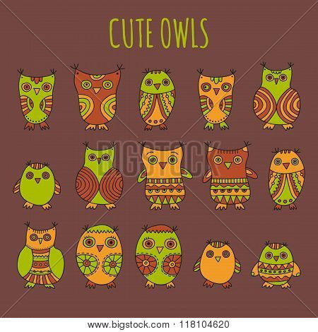 Set of bright cartoon owls and owlets on a brown background