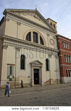 Venice, Italy - September 04, 2012: Church S.francesco Da Paula Near Rio Terra Giuseppe Garibaldi