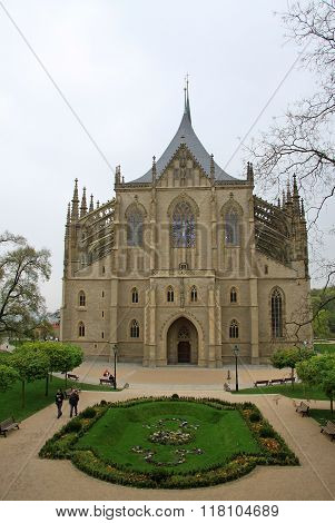 Kutna Hora, Czech Republic - April 29, 2013: View Of Saint Barbara's Church (cathedral Of St Barbara