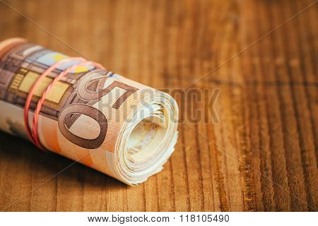 Rolled Up Cash Money, Euro Banknotes
