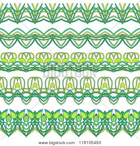 Vector Set Of Five Seamless Floral Borders