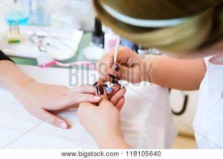 Applying Nail Polish On Nails