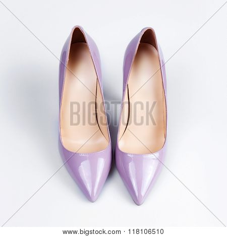 Purple Female Shoes Over White
