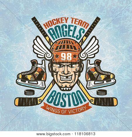 Hockey emblem with player