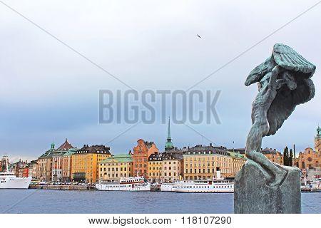Carl Milles' Vingarna (wings) Sculpture And Gamla Stan, Stockholm, Sweden
