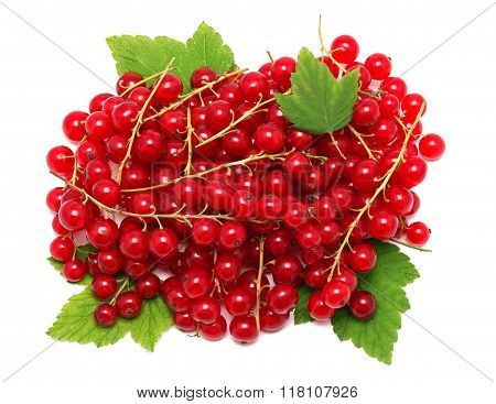 Pile Of Ripe Redcurrant Berries On Green Leaves (isolated)