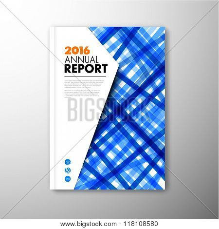 Modern Vector abstract brochure / book / flyer design template with blue stripes