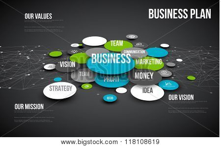 Vector 3D Abstract Business infographic schema - blue and green version