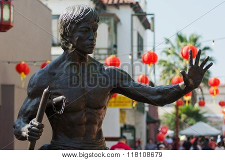 Bruce Lee Statue During The 117Th Golden Dragon Parade,